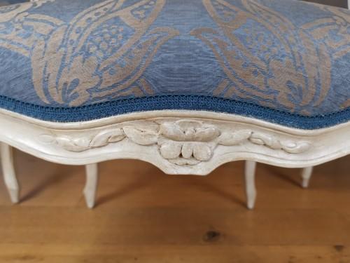 Antiquités - A set of four Louis XV painted armchairs by Louis-Michel Lefèvre 18th cent.