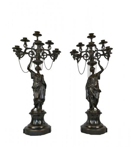A pair of Vestal candelabra, Napoleon III  - Mid 19th Century