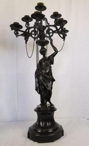 A pair of Vestal candelabra, Napoleon III  - Mid 19th Century - Lighting Style Napoléon III