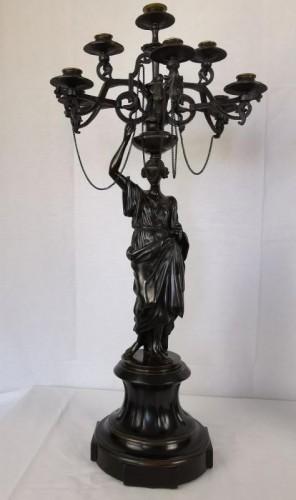 Lighting  - A pair of Vestal candelabra, Napoleon III  - Mid 19th Century