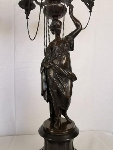 19th century - A pair of Vestal candelabra, Napoleon III  - Mid 19th Century