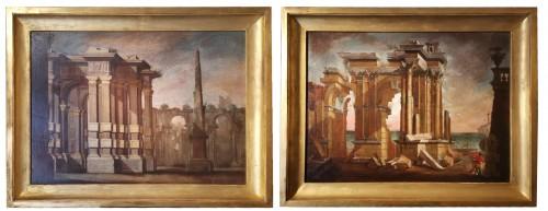 Pair of Architectural Caprices  workshop Alberto Carlieri (1672-c.1720).