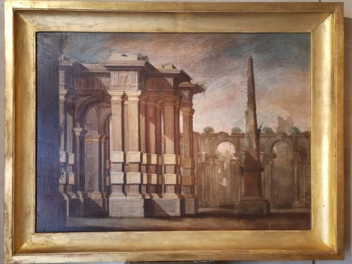 Pair of Architectural Caprices  workshop Alberto Carlieri (1672-c.1720). - Paintings & Drawings Style Louis XV