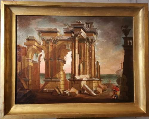 Paintings & Drawings  - Pair of Architectural Caprices  workshop Alberto Carlieri (1672-c.1720).