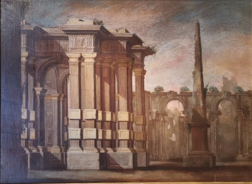 Pair of Architectural Caprices  workshop Alberto Carlieri (1672-c.1720). -