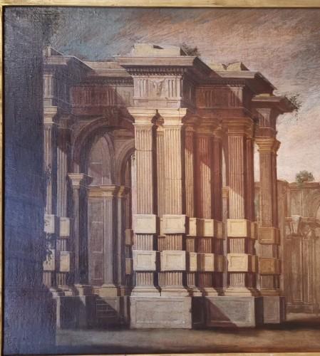 18th century - Pair of Architectural Caprices  workshop Alberto Carlieri (1672-c.1720).