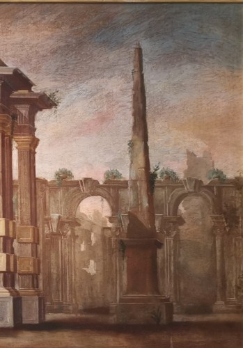 Pair of Architectural Caprices  workshop Alberto Carlieri (1672-c.1720). - Louis XV