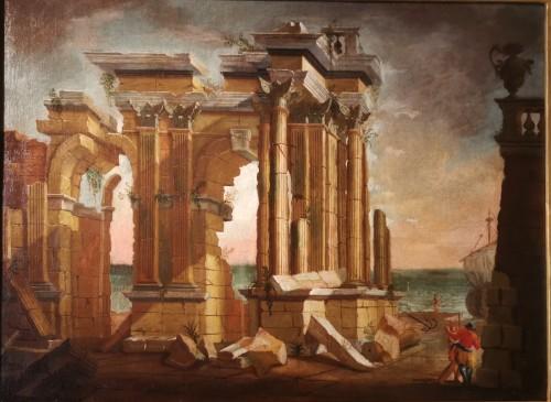 Louis XV - Pair of Architectural Caprices  workshop Alberto Carlieri (1672-c.1720).