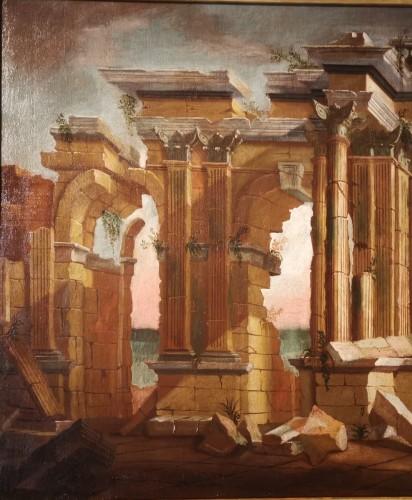 Antiquités - Pair of Architectural Caprices  workshop Alberto Carlieri (1672-c.1720).