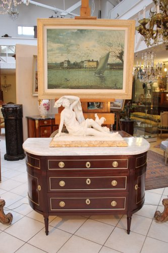 Commode demi lune Louis XVI en acajou