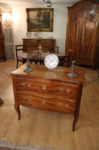 A Louis XV Commode sauteuse in walnut