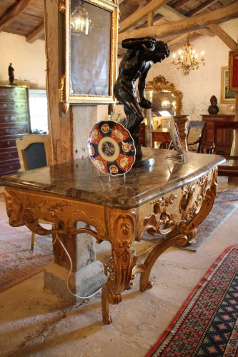 Furniture  - A Louis XV giltwood console