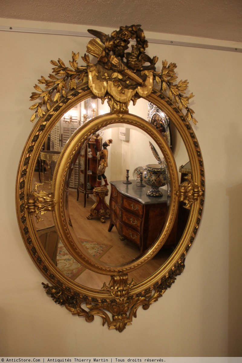 Miroir ovale parecloses poque napol on iii xixe for Miroir napoleon