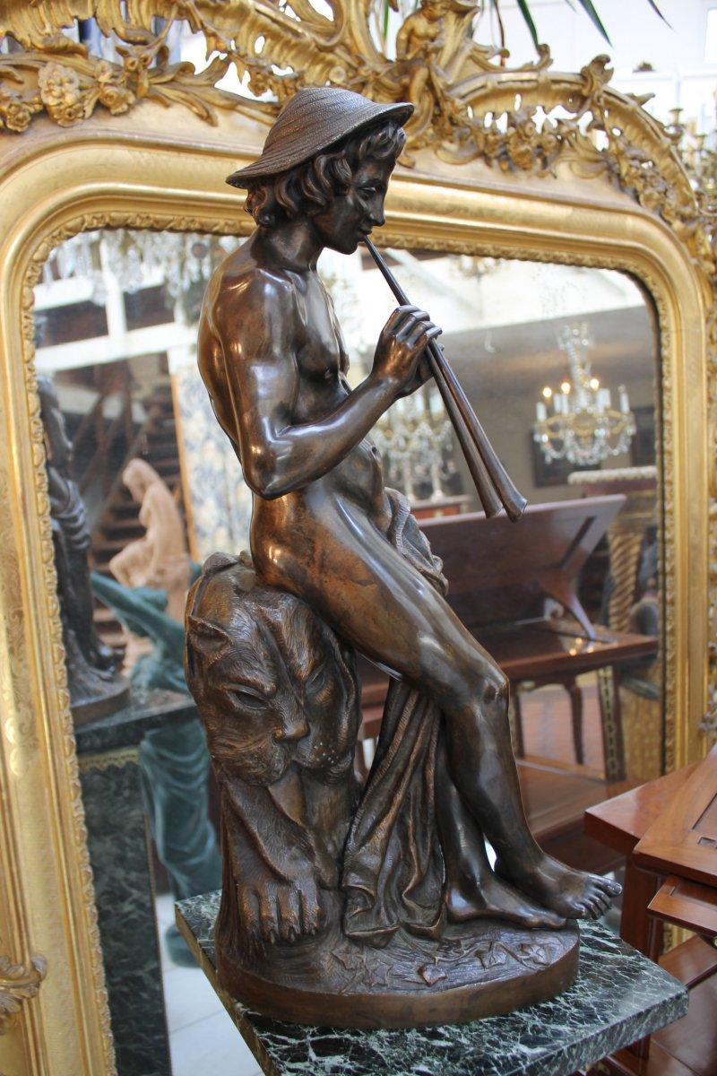 Joueur De Fl U00fbte Double En Bronze De Coinchon