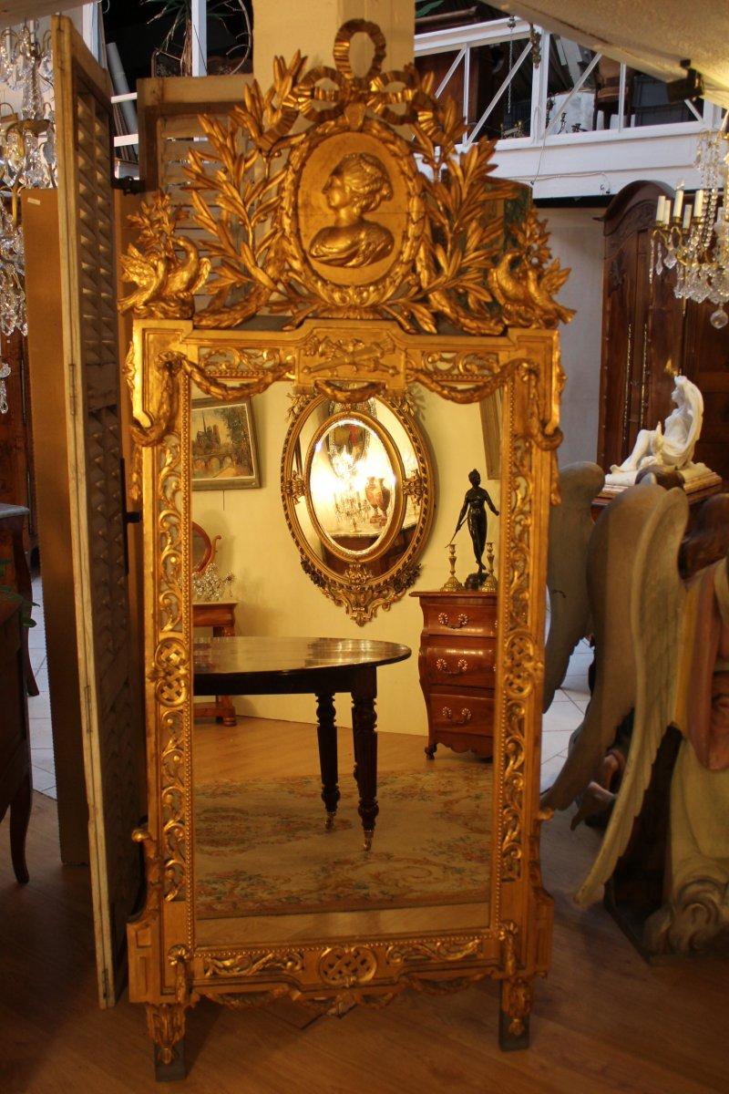 Miroir xixe si cle en bois dor for Miroir xix siecle