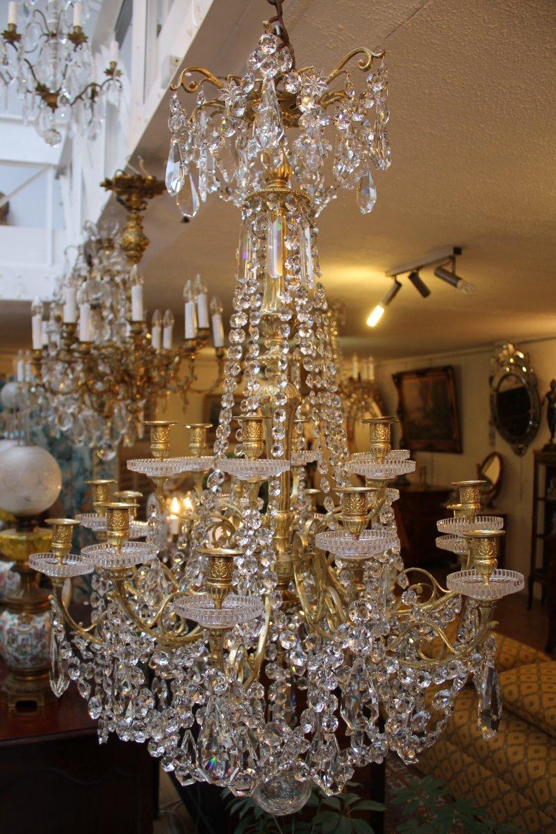 lustre en bronze et cristal de baccarat poque napol on iii xixe si cle. Black Bedroom Furniture Sets. Home Design Ideas