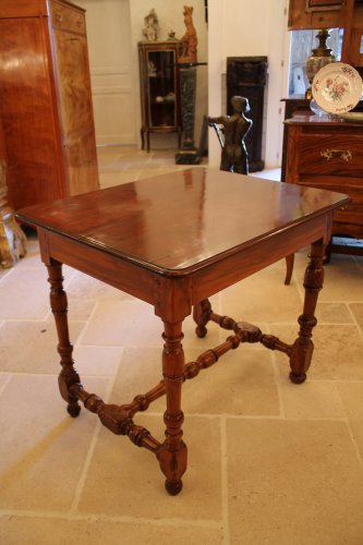 Table Louis XIV en acajou, if et bois citron - Mobilier Style Louis XIV