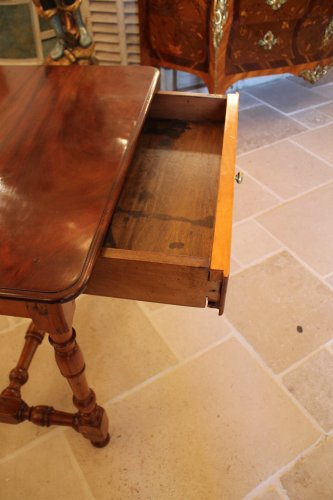 Mobilier Table - Table Louis XIV en acajou, if et bois citron