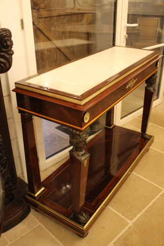 Furniture  - Caryatids console in mahogany and mahogany veneer, Empire period