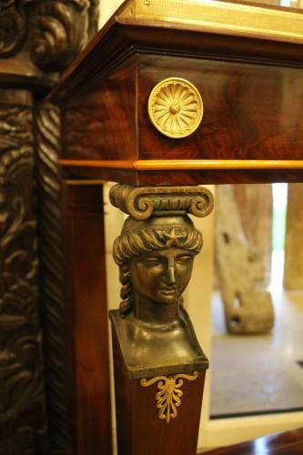 Caryatids console in mahogany and mahogany veneer, Empire period -