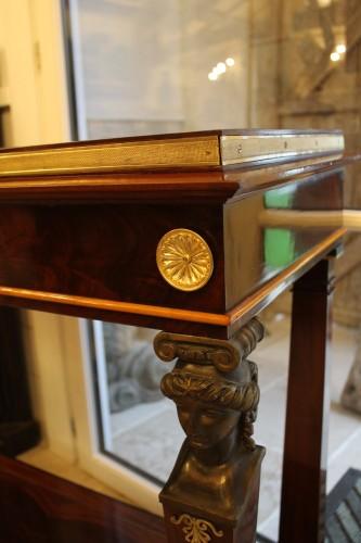 19th century - Caryatids console in mahogany and mahogany veneer, Empire period