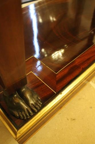 Caryatids console in mahogany and mahogany veneer, Empire period - Empire