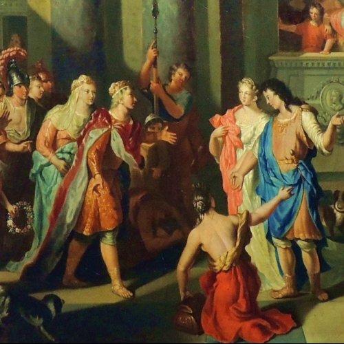 Paintings & Drawings  - Gerard Hoet - The court of Troy - XVIIth century