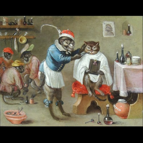 Flemish School XVIIth c - Ferdinand van Kessel - The barber monkey