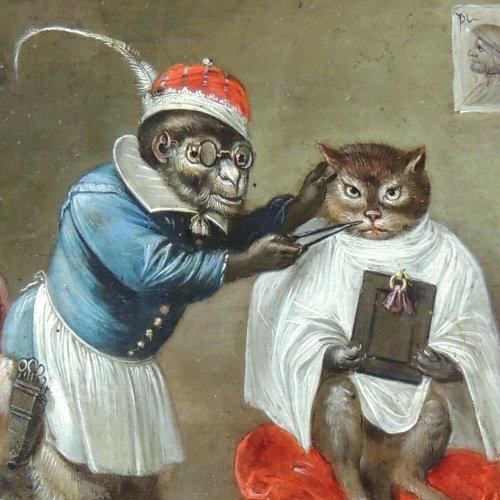 Flemish School XVIIth c - Ferdinand van Kessel - The barber monkey - Paintings & Drawings Style