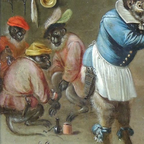 Paintings & Drawings  - Flemish School XVIIth c - Ferdinand van Kessel - The barber monkey