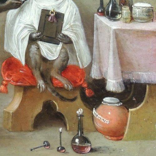 Flemish School XVIIth c - Ferdinand van Kessel - The barber monkey -