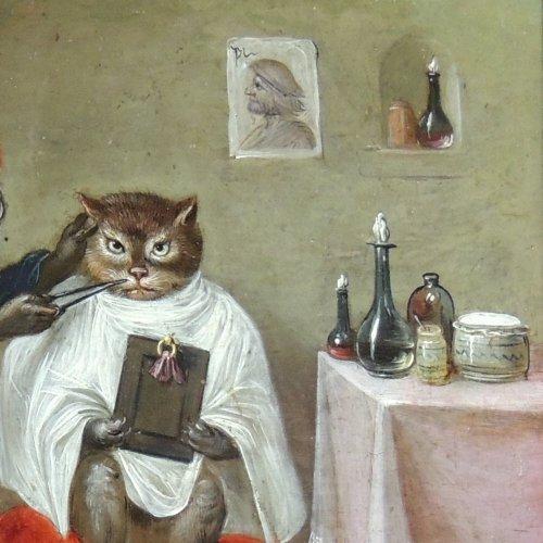17th century - Flemish School XVIIth c - Ferdinand van Kessel - The barber monkey