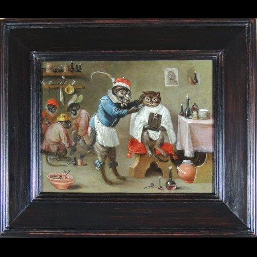 - Flemish School XVIIth c - Ferdinand van Kessel - The barber monkey