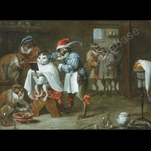 Antiquités - Flemish School XVIIth c - Ferdinand van Kessel - The barber monkey