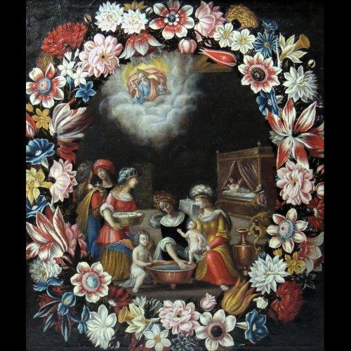 """the birth of st. john the baptist"" - flemish school seventeenth century - Paintings & Drawings Style Louis XIV"