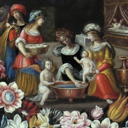 "Louis XIV - ""the birth of st. john the baptist"" - flemish school seventeenth century"