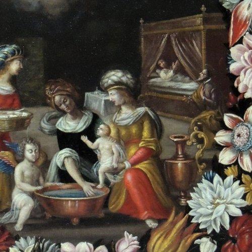 "Antiquités - ""the birth of st. john the baptist"" - flemish school seventeenth century"