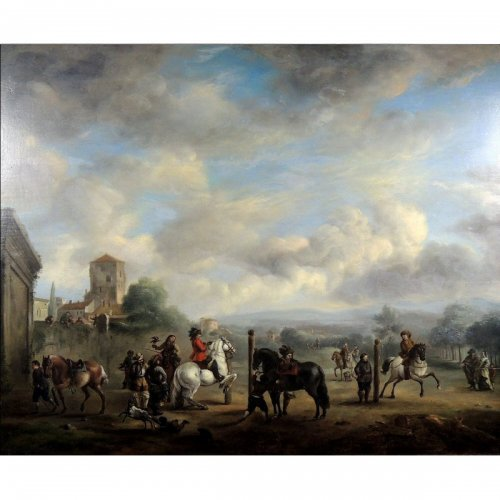 The riding academy - 16th century Dutch School - Philips Wouwerman Workshop