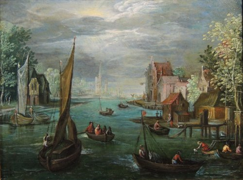 Flemish school of the 17th century - Fishermen in a river landscape