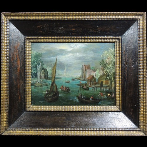 Flemish school of the 17th century - Fishermen in a river landscape - Paintings & Drawings Style