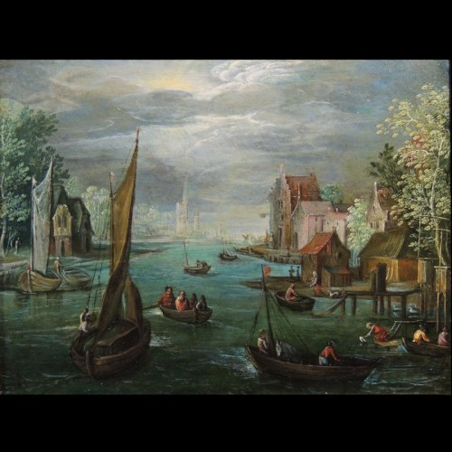 Paintings & Drawings  - Flemish school of the 17th century - Fishermen in a river landscape