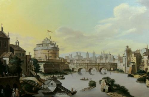Rome and Castel Sant'Angelo - Italian School of the 18th century