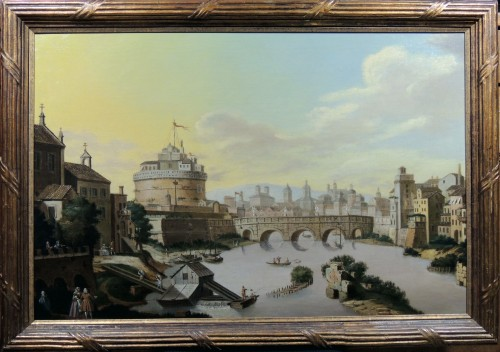 Rome and Castel Sant'Angelo - Italian School of the 18th century - Paintings & Drawings Style