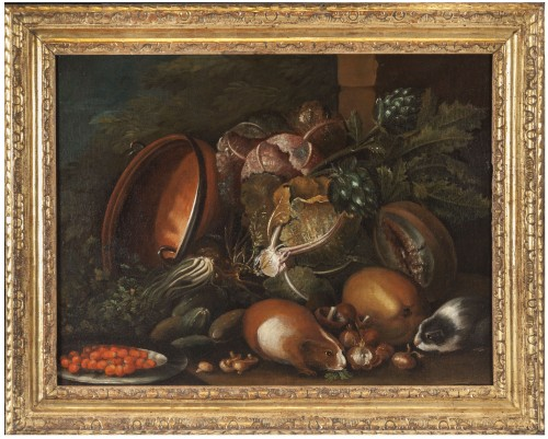 Still life with guinea pigs - Workshop of Giovanni Paolo Castelli lo Spadin