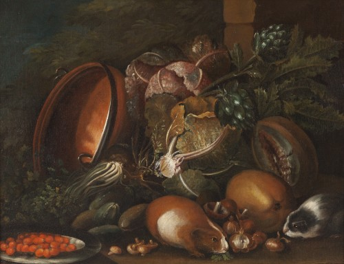 Still life with guinea pigs - Workshop of Giovanni Paolo Castelli lo Spadin - Paintings & Drawings Style