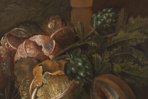 18th century - Still life with guinea pigs - Workshop of Giovanni Paolo Castelli lo Spadin