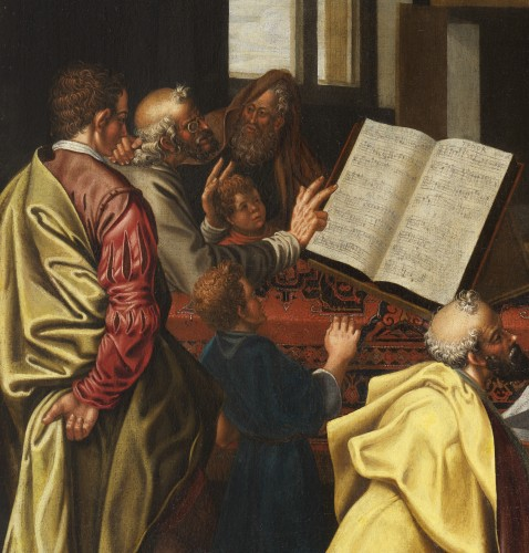 David playing the harp - Dutch school circa 1600 - Paintings & Drawings Style Renaissance