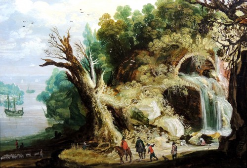 Landscape with a waterfall - circle Joos Momper (1564 - 1635)