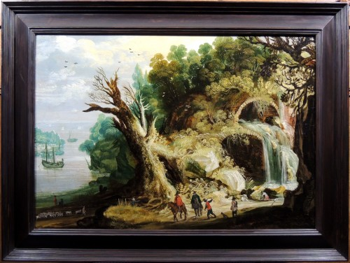 Landscape with a waterfall - circle Joos Momper (1564 - 1635) - Paintings & Drawings Style