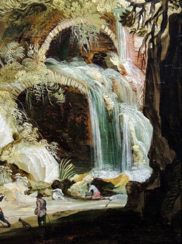 Landscape with a waterfall - circle Joos Momper (1564 - 1635) -